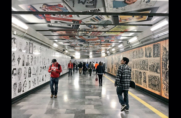 Museo de la caricatura en estación Zapata atrapa a usuarios del Metro