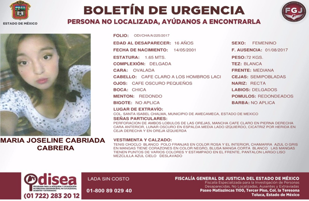 Joven desaparecida en Amecameca