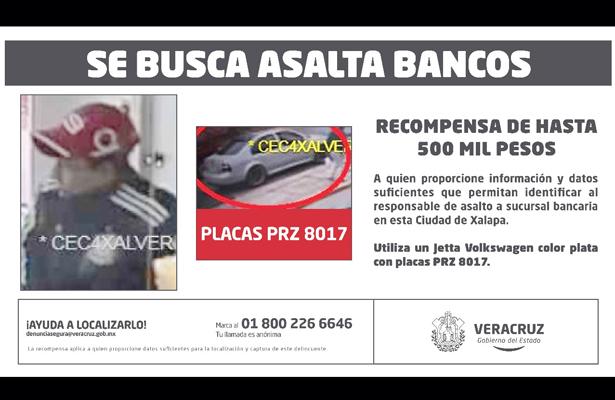 Se busca asaltabancos en Xalapa