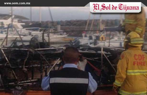 Viejito muere 'chamuscado' al incendiarse yate, en Tijuana