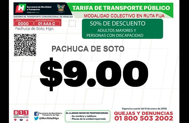 Nuevas tarifas de transporte público de pasajeros en Hidalgo