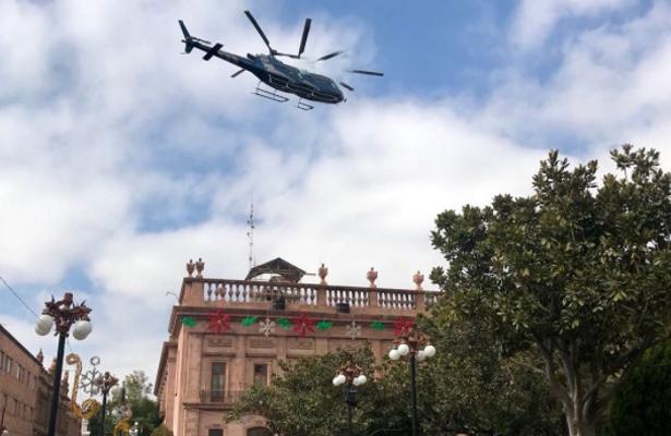 Helicóptero causa daños en edificio del Centro de SLP