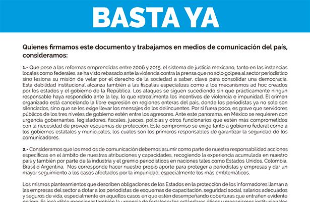 #BastaYa Medios se unen por la protección de periodistas