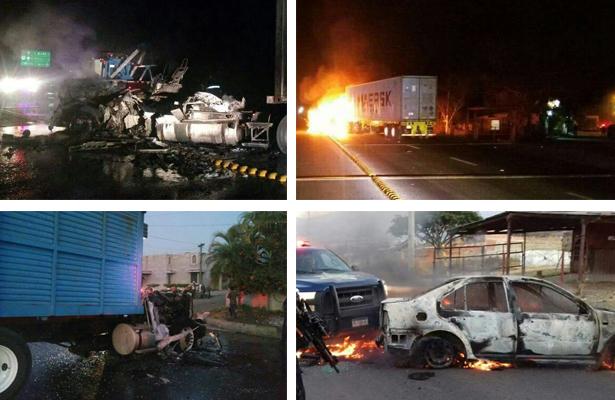 Bloqueos e incendio de vehículos deja muerte de líder del crimen