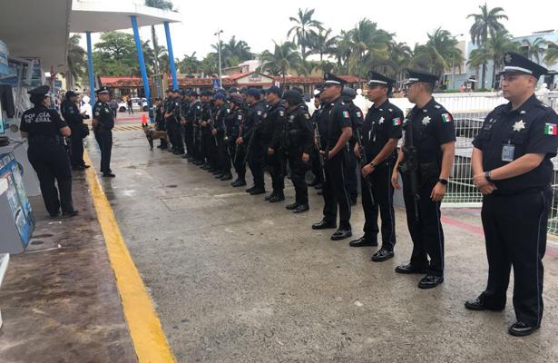 Policía Federal aplican dispositivo de seguridad en playa del Carmen y Cozumel