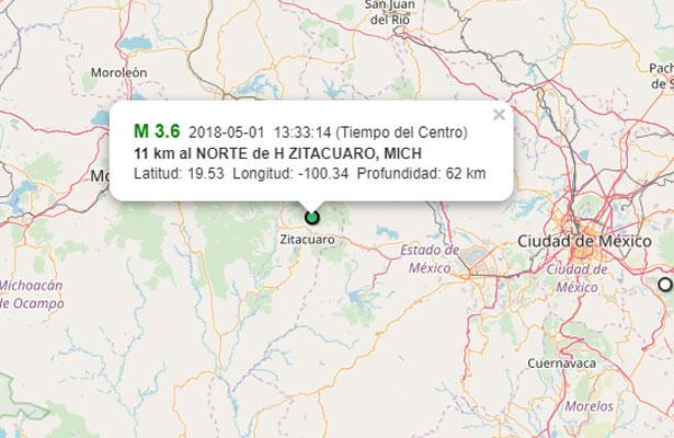 Se registra sismo de 3.6 grados en Michoacán