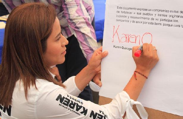 Firma Karen Quiroga compromiso con barrios de Iztapalapa