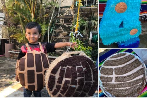 Un niño festeja su cumpleaños con la temática de una concha de pan dulce