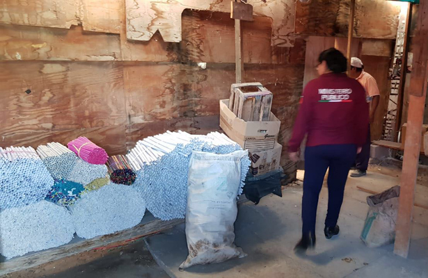 Asegura FGJEM un taller de pirotecnia Tultepec
