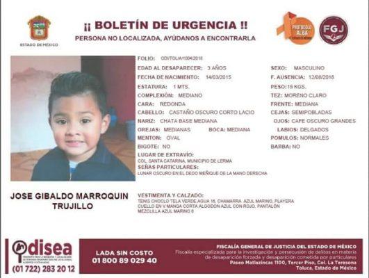 Ayuda a encontrar al pequeño José Gibaldo Marroquín