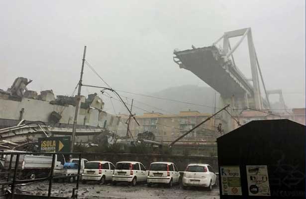 Colapsa un puente en Génova, hay al menos 30 muertos