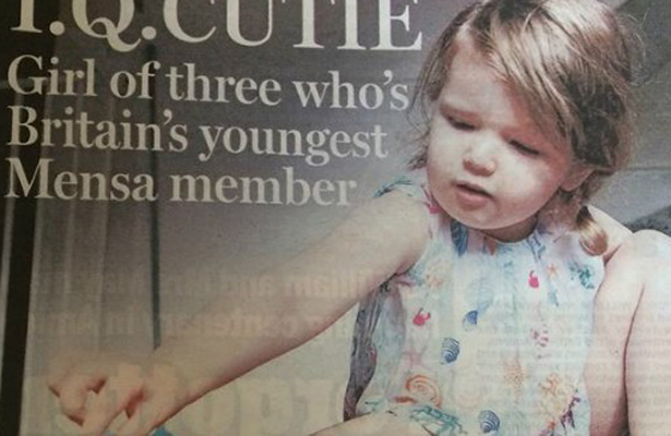 Niña de tres años registra un coeficiente superior a Einsten