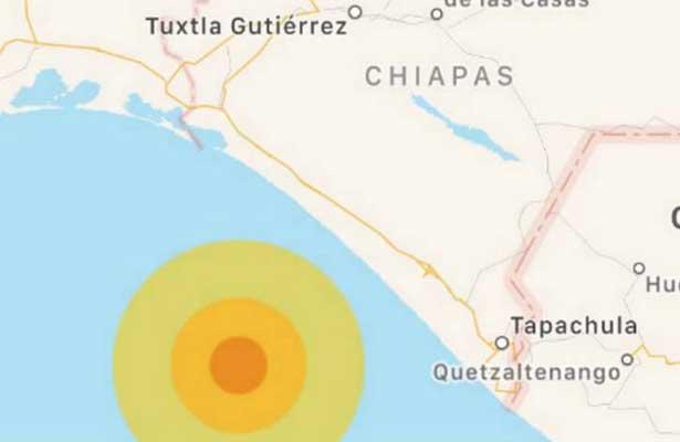 Se registra sismo de magnitud 5.5 en Chiapas sin afectaciones