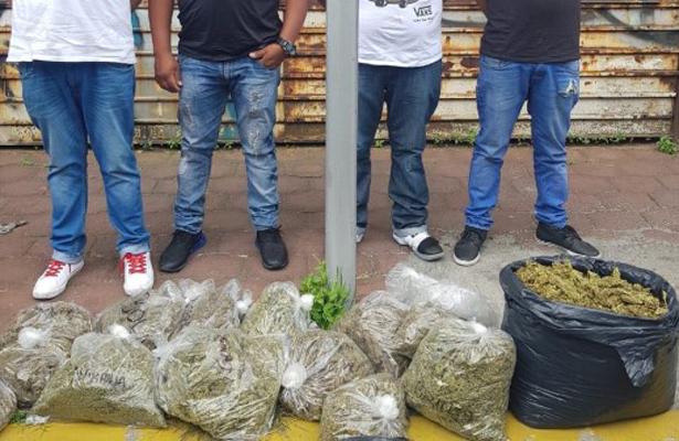 Los cacharon con la marihuana en las manos