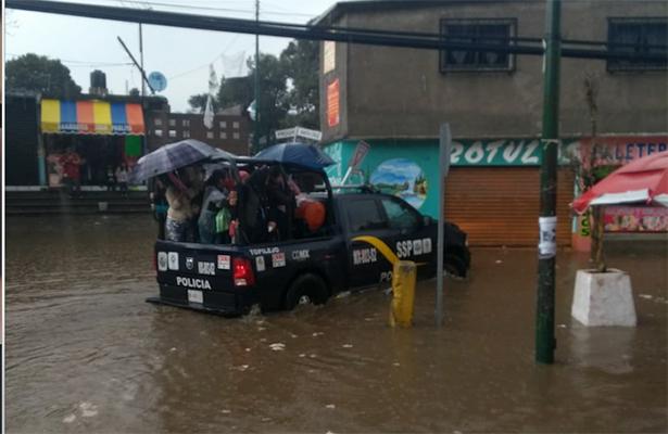 Granizada e inundación en Topilejo