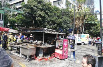 [VIDEO] Se incendia puesto de comida en la colonia Roma Sur