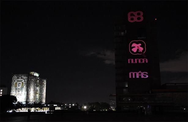 Con iluminación la UNAM manda mensaje por el 68
