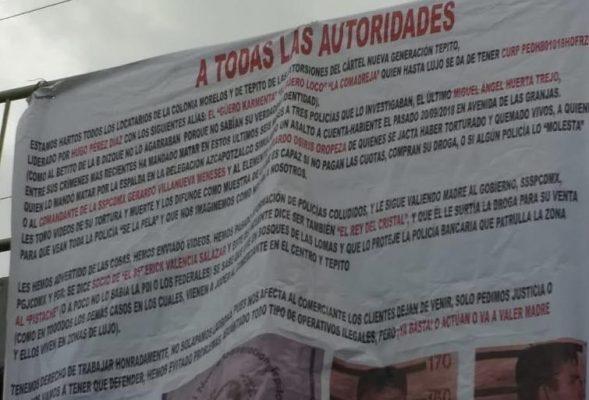 Comerciantes niegan ser autores de colocar narco mantas.