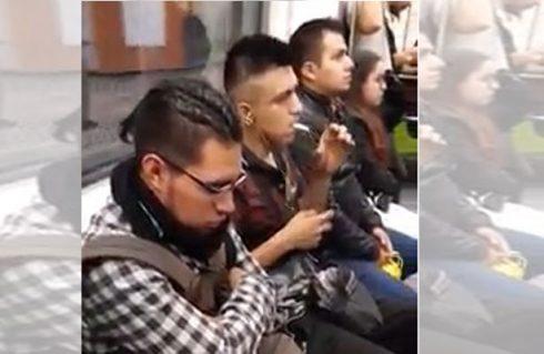 Joven fuma porro de marihuana en el metro de la CDMX (Video)
