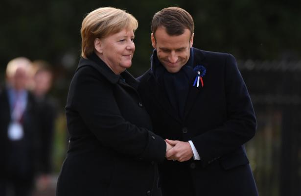 Macron y Merkel refuerzan lazos a cien años del fin de la IGM