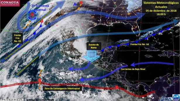 Frente frío número 15 ocasionará caída de aguanieve en estados del norte