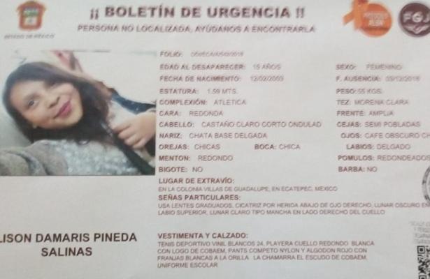 Desaparece jovencita de 15 años en Ecatepec