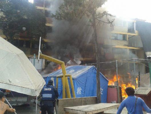 Sorprende incendio a damnificados de Multifamiliar Tlalpan