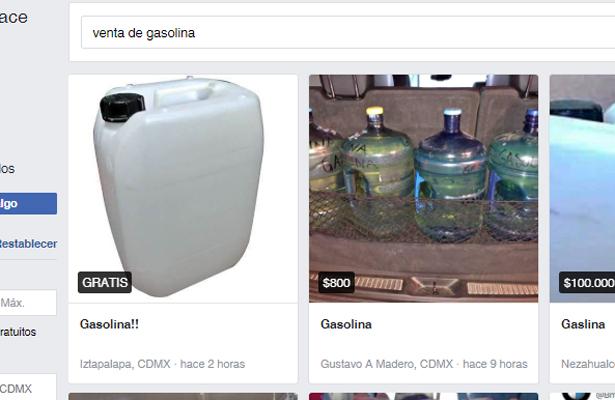 A la venta gasolina en Facebook