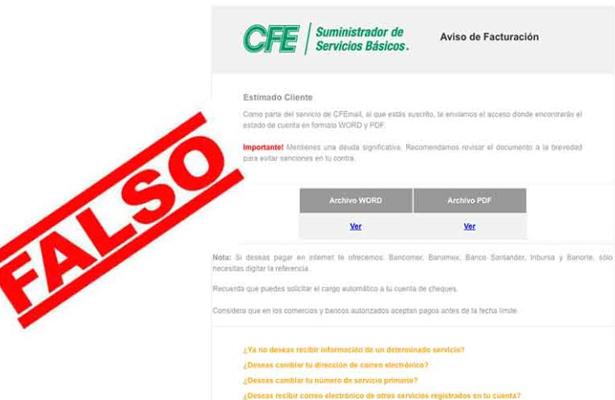 Alerta CFE sobre correos electrónicos apócrifos que utilizan su imagen