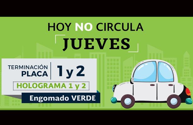 Este jueves no circulan automóviles con engomado verde