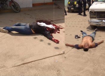 Ella lo mata a tiros y los guarros de él la matan a rocazos y degüellan