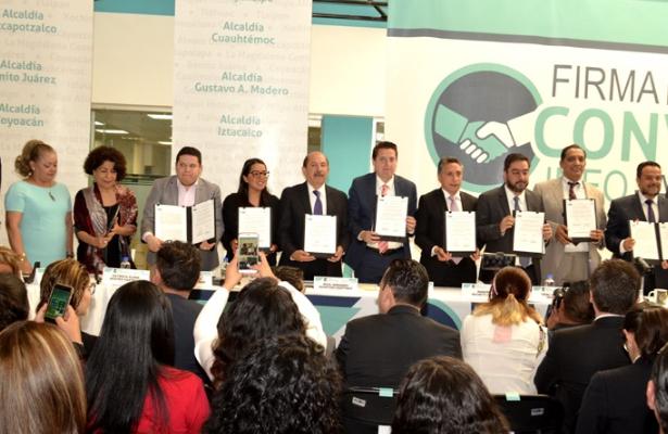 Firman alcaldes y el INFO-CDMX convenio de transparencia