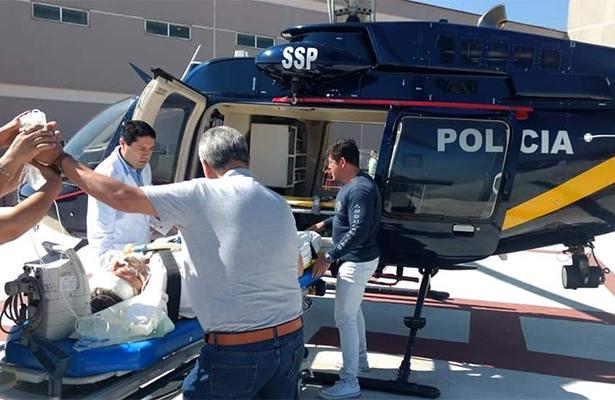 Helicóptero de la SSC trasladó a un motociclista por traumatismo craneoencefálico