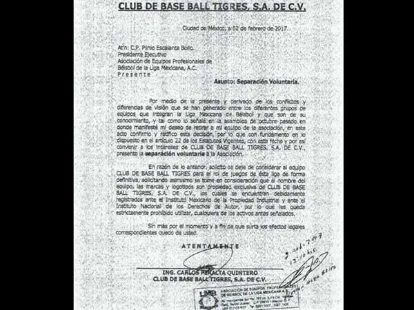 Club de beisbol Tigres anuncia separación de Liga Mexicana