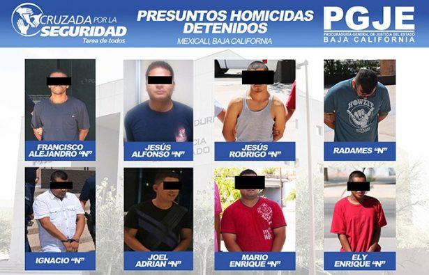 Detiene PGJE a 9 por homicidio en Mexicali