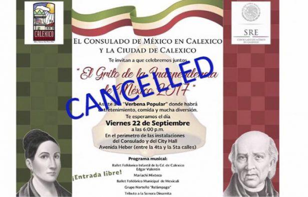 Cancela Consulado en Calexico el festejo patrio