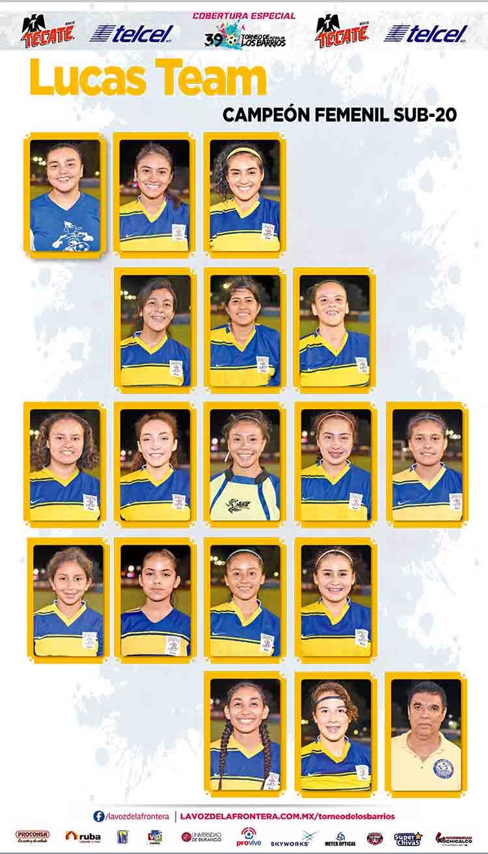 "Integrantes Campeón Categoría Femenil Sub-20 ""Lucas Team"""