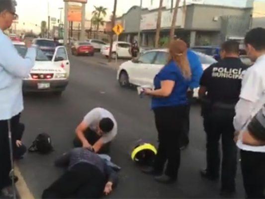 Atropellan a repartidor frente a Cobach Mexicali