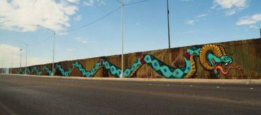 Crean obra de más de 70 metros en muro fronterizo