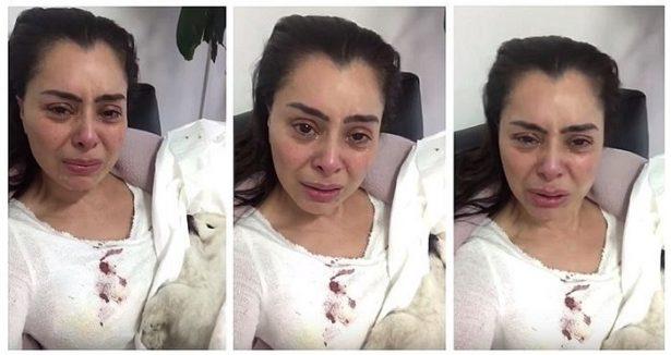 Con el cadáver en brazos, esta actriz llora el asesinato de su perro