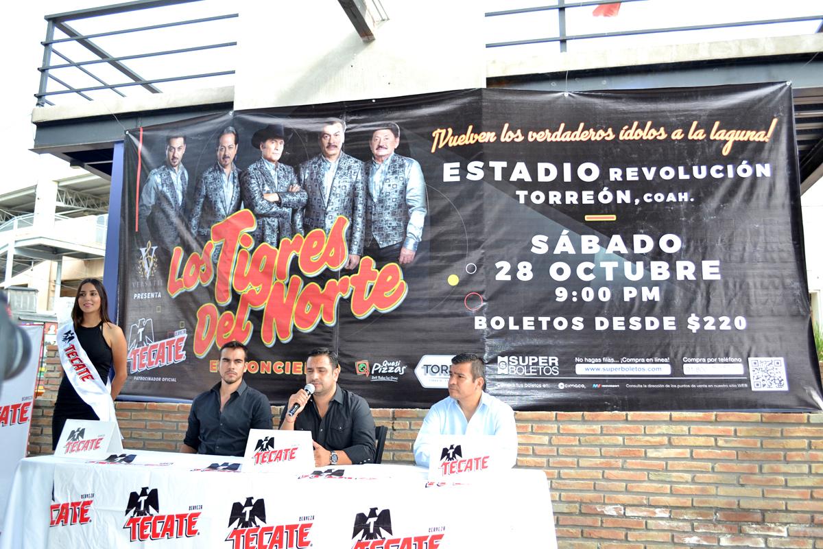 Será el próximo 28 de octubre, a las 21:00 horas, cuando los Tigres del Norte de presenten en concierto en el Estadio Revolución.