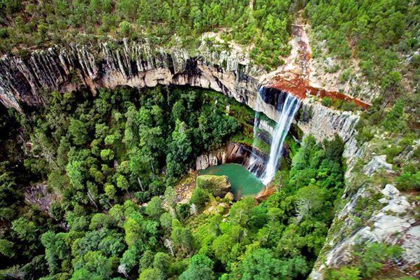 El Salto del Agua Llovida, ofrece una majestuosa cascada azul turquesa que cuenta con cien metros de caída libre, sus guacamayas y paredes de piedra son de las más bonitas de la sierra.