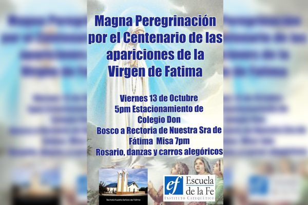 Invitan a magna peregrinación por la Virgen de Fátima