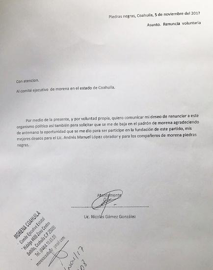 Copia de la renuncia del ahora ex militante de Morena.