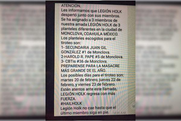 Amenaza en redes sociales causa alarma en Monclova