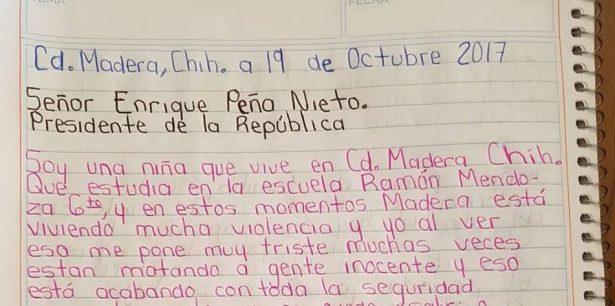 Niña originaria de Madera pide a Peña Nieto apoyo por violencia