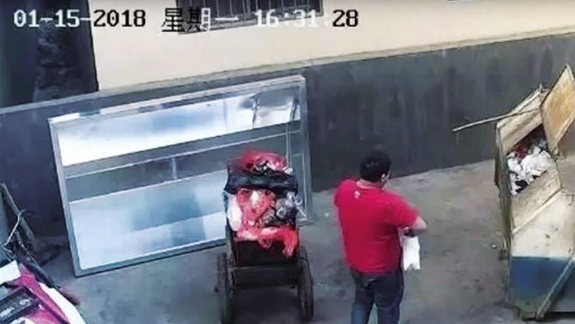 VIDEO: Graban a un sujeto tirando a su bebé en la basura