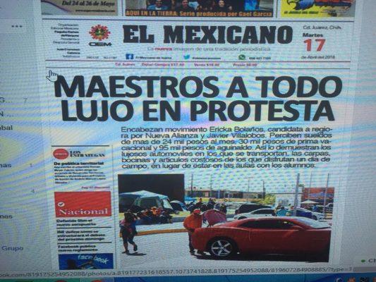 Falsifican portada de El Mexicano para atacar a maestros