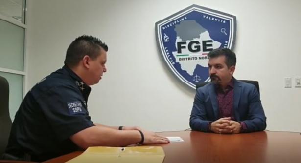 Presenta secretario de la policía denuncia formal ante FGE