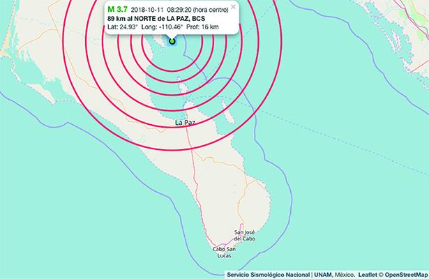 Se registró un temblor en La Paz